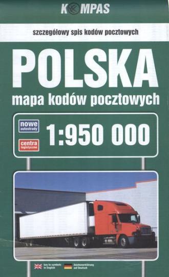 Polska mapa kodów pocztowych (skala - okładka książki