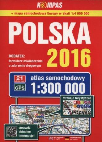 Atlas samochodowy Polska 2016 (skala - okładka książki