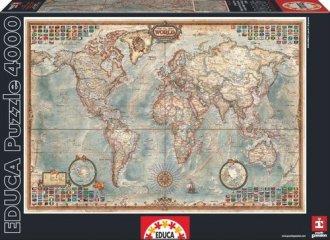 Świat, mapa stylizowana (puzzle - zdjęcie zabawki, gry