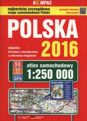 Polska 2016. Atlas samochodowy - okładka książki