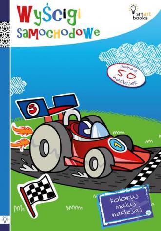 Wyścigi samochodowe. Koloruj, maluj, - okładka książki