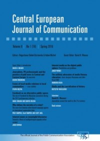 Central European Journal of Communication vol. 9, no 1 (16), Spring 2016 - okładka książki