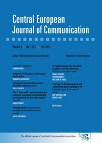 Central European Journal of Communication vol. 9, No 2 (17), Fall 2016 - okładka książki
