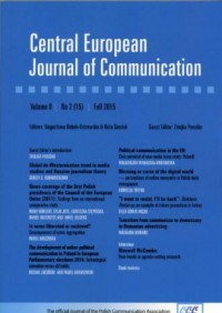 Central European Journal of Communication vol. 9, No 2 (15), /fall 2015 - okładka książki