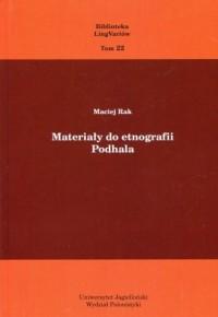 Materiały do etnografii Podhala. - okładka książki