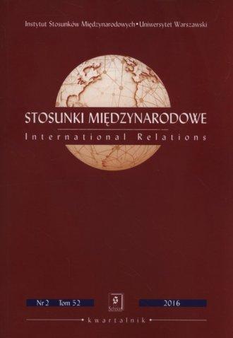 Stosunki Międzynarodowe 52 2/2016 - okładka książki