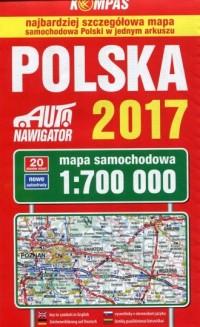 Polska 2017 Mapa samochodowa 1:700 - okładka książki