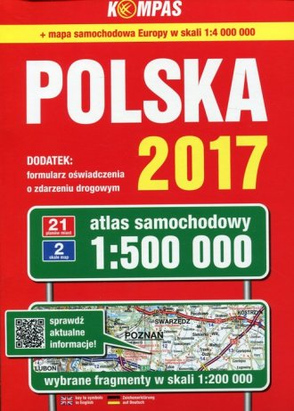 Atlas samochodowy polski 2017 kompas - okładka książki