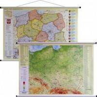 Polska mapa ścienna dwustronna administracyjno-fizyczna 1:1 000 000 - okładka książki