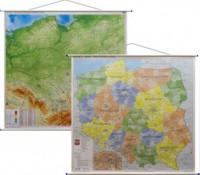 Polska mapa ścienna dwustronna fizyczno-administracyjna 1:500 000 - okładka książki
