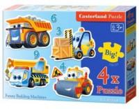 Puzzle 4W1. Śmieszne maszyny budowlane - zdjęcie zabawki, gry
