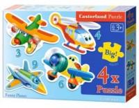 Puzzle 4w1. Zabawne samoloty - zdjęcie zabawki, gry