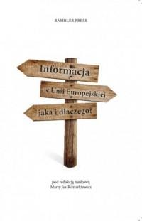 Informacja w Unii Europejskiej. Jaka i dlaczego? - okładka książki