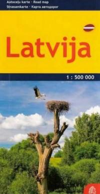Łotwa mapa samochodowa 1:500 000 - okładka książki