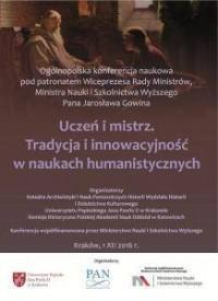 Uczeń i mistrz. Tradycja i innowacyjność w naukach humanistycznych - okłakda ebooka