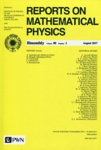 Reports on Mathematical Physics 80/1 2017 Kraj - okładka książki
