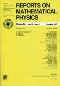 Reports on Mathematical Physics 80/3 2017 Pergamon - okładka książki