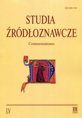 Studia źródłoznawcze. Tom 55 - okładka książki