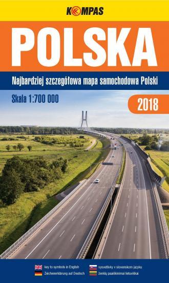 Polska. Mapa samochodowa 1:700 - okładka książki