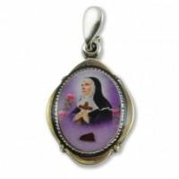 Srebrny medalik św. Rity z pobłogosławioną różą - dewocjonalia