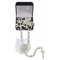 Różaniec ze srebra z grawerunkiem od Ojca Chrzestnego - dewocjonalia