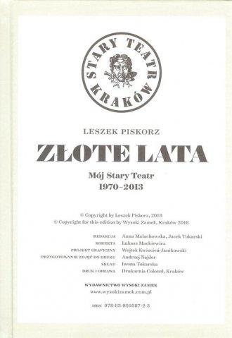 Złote lata. Mój Stary Teatr 1970-2013 - okładka książki