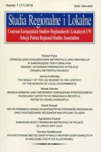 Studia Regionalne i Lokalne nr 1 (71) 2018 - okładka książki