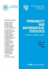 Probability and Mathematical Statistics vol. 38, fasc. 1, 2018 - okładka książki