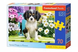 Puzzle 70 Spaniel in flowers - zdjęcie zabawki, gry