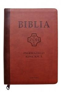 Biblia Pierwszego Kościoła kasztanowa z paginatorami i suwakiem - okładka książki