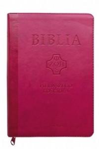 Biblia Pierwszego Kościoła pu różowa z paginatorami i suwakiem. Skala 1:1 - okładka książki