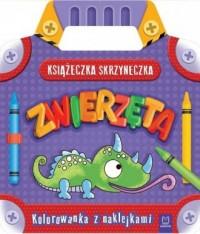 Książeczka-skrzyneczka. Zwierzęta Kolorowanka z naklejkami - okładka książki