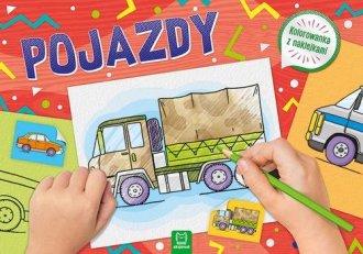 Pojazdy. Kolorowanka z naklejkami - okładka książki