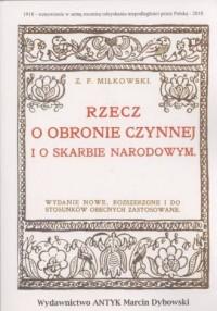 Rzecz o obronie czynnej i o skarbie narodowym - okładka książki
