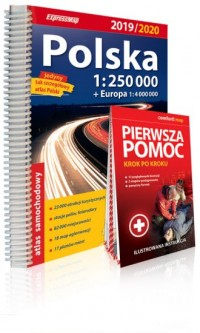 Polska atlas samochodowy + instrukcja pierwszej pomocy 1:250 000. Wydanie 2019/2020 - okładka książki