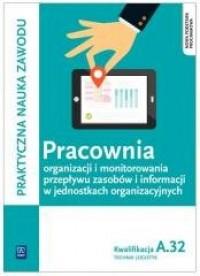 Pracownia organizacji i monitorowania przepływu zasobów i informacji w jednostkach organizacyjnych. Kw. A.32 - okładka podręcznika