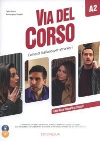 Via del Corso A2 Libro dello studente ed esercizi (+ 2 CD + DVD) - okładka podręcznika