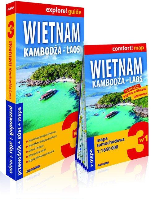 Wietnam, Kambodża, Laos 3w1: przewodnik - okładka książki