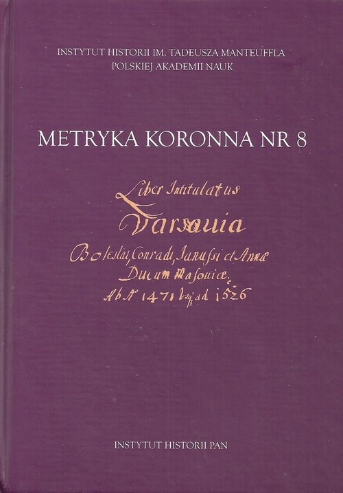 Metryka koronna nr 8. Liber intitulatus: - okładka książki