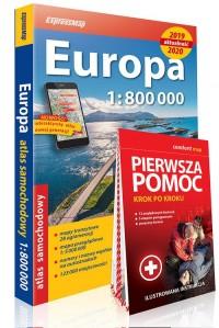 Europa atlas samochodowy 1:800 000 + Pierwsza pomoc - krok po kroku - ilustrowana instrukcja - okładka książki