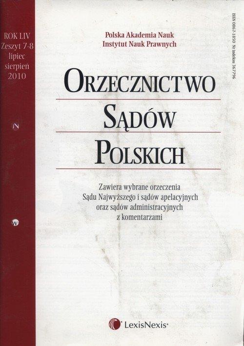 Orzecznictwo Sądów Polskich 7-8/2010 - okładka książki