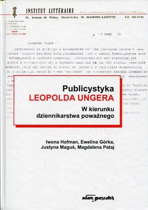 Publicystyka Leopolda Ungera. w - okładka książki