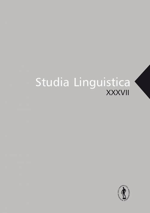 Studia Linguistica XXXVII - okładka książki