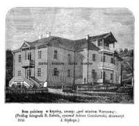 Dom gościnny w Krynicy zwany pod miastem Warszawą - zdjęcie reprintu, mapy