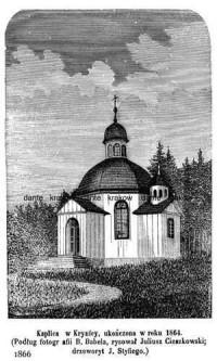 Kaplica w Krynicy ukończona w roku 1864 - zdjęcie reprintu, mapy