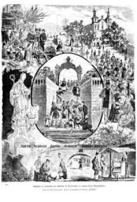 Odpust w kościele na Skałce w Krakowie w dzień Ś-go Stanisława - zdjęcie reprintu, mapy
