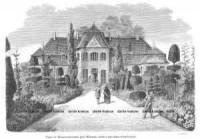 Pałac w Waszkiewiczach pod Wilnem, wraz z ogrodem strzyżonym - zdjęcie reprintu, mapy