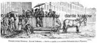 Przemysł uliczny Warszawy. Omnibus naprędce przez szerokość Królewskiej ulicy w Warszawie - zdjęcie reprintu, mapy