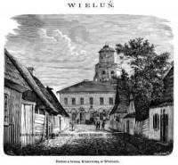 Ratusz z bramą Krakowską w Wieluniu - zdjęcie reprintu, mapy