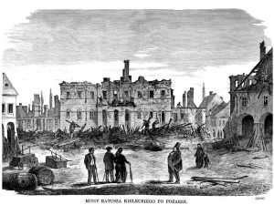 Ruiny Ratusza Kieleckiego po pożarze - zdjęcie reprintu, mapy